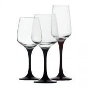 Комплект от 6 броя чаши за вино LAV Lal с черно столче
