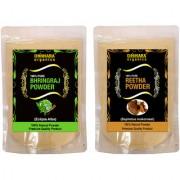 Donnara Organics 100% Natural Bhringraj Powder and Reetha powder Combo pack of 2 of 150 gms(300 gms)