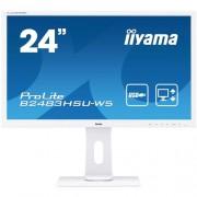 24'' iiyama B2483HSU-W5: TN, FullHD, 250cd/m2, 1ms, VGA, DP, HDMI, USB, height, pivot, biely