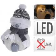 Svetlo LED snehuliak 23CM so sivým šálom a čiapkou, postavička, dekorácia