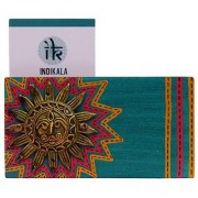 Indikala Handcrafted Warli Painted Multicoloured Sun Adorned Twin Visiting Cards Holder (IK-01-392)