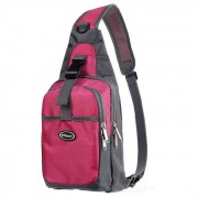 CTSmart Ciclismo al aire libre para excursiones Sling Chest Pack Messenger Bag Mochila - Deep Pink + Gris