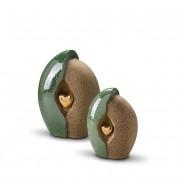 Mini Keramische Urn Groen-Zand, Gouden Hart (0.7 liter)