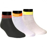 Neska Moda Premium Women 3 Pairs Cotton Ankle Length Socks Black Orange S760