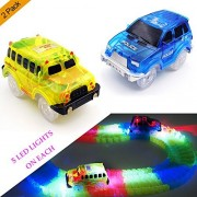 Track Cars,(2-Pack) Light Up Yellow School Bus and Blue Police Car,5 LED Lights,Compatible with Most Tracks, Perfect Gift for Boys & Girls