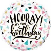 "Qualatex ""Birthday Hooray! Foil Round 18in/45cm"""