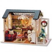 Doll House Kit - Mini Wooden Furnitures DIY Assembling House Miniature Crafts Toys Creative Wood Room with Furniture & Accessories for Kids, Lovers, Friends, & Familes (Holiday Time) by Shuban