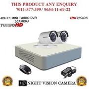 HIKVISION 1 MP 4CH DS-7104HGHI-F1 MINI Turbo HD 720P DVR + HIKVISION DS-2CE16COT-IR TURBO BULLET CAMERA 2pcs CCTV COMBO