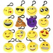 Emoji Keychain 2 Inch Mini Emoji Plush Keychains Cushion Pillows Set Pack of 16