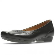 Clarks Women's Blanche Garryn Black Leather Ballet Flats - 5 UK/India (38 EU)