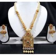 Golden Square Pearl Drop Pendant Necklace Set