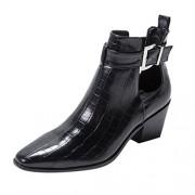 KCPer shoes KCPer Botas cortas de tobillo con hebilla y correa retro para mujer, cómodas botas de piel con recorte puntiagudo, tacón bajo, estilo combate, zapatos occidentales, Negro, 26.5 (8.5 USA)