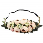 Camellia Buds Guirnalda Mujer Flores Para La Cabeza - Beige