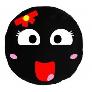 Soft Smiley Emoticon Black Round Cushion Pillow Stuffed Plush Toy Doll (Bow Girl)