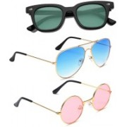 Elligator Aviator, Wayfarer, Round Sunglasses(Green, Blue, Pink)