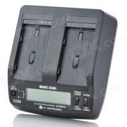 """""""BC-BQ1051C 2.4 """"""""LCD dual del cargador de bateria para Sony F550 / F750 / F950 - Negro"""""""