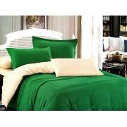 Lenjerie de pat dublu din bumbac satinat de calitate cu 4 piese Verde UNI / Crem UNI