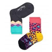 Happy Socks Sokken Kids Socks 2-Pack Leopard Grijs