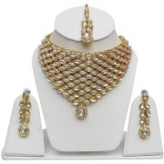Lucky Jewellery Designer White Color Kundan Stone Gold Plating Necklace Set for Girls & Women (792-L1SK-831-W)