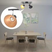 vidaXL Спот лампа за 2 крушки, E27, черно и златисто
