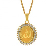 MissMister Gold Plated CZ Studded Allah Word Embossed Oval Muslim Islamic Pendant Jewellery Necklace for Men/Women Boys Girls