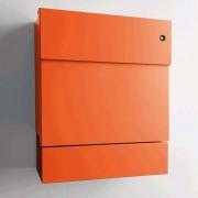 Radius Design Letterman 5 Briefkasten orange (RAL 2009) mit Klingel in blau mit Pfosten in Briefkastenfarbe