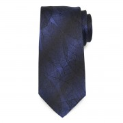 Men's silk tie with black leaf pattern 9778