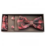 Set papion, batista si butoni negru cu model elegant rosu