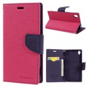 Korean Mercury Fancy Diary Wallet Case for Sony Xperia Z3 - Hot Pink