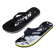 Indistar Men Step Care Comfortable Flip Flop House Slipper And Hawaai Chappal Office Slipper-DOTTED BLACK-7 IND/UK- Pack Of 2 Pairs