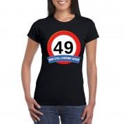 Bellatio Decorations 49 jaar verkeersbord t-shirt zwart dames S - Feestshirts
