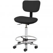 Taburete Kinefis Tipo Cadeira Elite com Respaldo Estofado em Skay Excellent, Elevação a Gás, Altura Alto com Reposapiés (Cores Disponíveis)