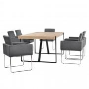 [en.casa]® Elegantan blagovaonski stol (svijetli brijest) - s 6 kom. design stolica (tamno sive)