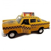 Diecast Metal Classic New York City Yellow Taxi with Pullback Motor Action