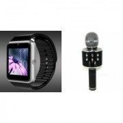 Zemini GT08 Smart Watch and WS 858 Microphone Karrokke Bluetooth Speaker for LG OPTIMUS 4X HD(GT08 Smart Watch with 4G sim card camera memory card  WS 858 Microphone Karrokke Bluetooth Speaker )