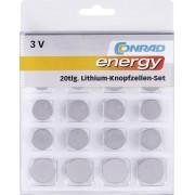 Set 20 baterii buton litiu, 3 V, Conrad energy