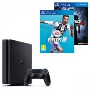 PlayStation 4 Slim 500GB Black, Sony PS4 PS4SlimBlack+Игра FIFA 19 за PlayStation 4+Игра Uncharted 4: A Thief's End за PS4