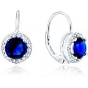 Beneto Stříbrné náušnice s modrými krystaly AGUC1156