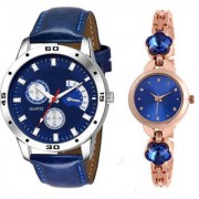 MACRON W-210 Couple Watch Combo Watch Blue Belt Blue Dial with Blue dial Golden watch 210