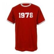 geschenkidee.ch Jahrgangs-Shirt für Erwachsene Rot/Weiss, Grösse L