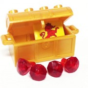 Lego Parts: Treasure Chest/Jewel Pack Bundle (4) 24 Facet Red Jewels (1) Pearl Gold Treasure Chest (1) Coat of Arms Tile
