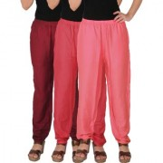 Culture the Dignity Women's Rayon Solid Casual Pants Office Trousers With Side Pockets Combo of 3 - Maroon - Pink - Baby Pink - C_RPT_MPP2 - Pack of 3 - Free Size