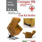 Il Benessere Poltrona Relax Stella completa di Alzapersona e Kit Roller 2 Motori Tessuto Lavabile Colore Giallo Ocra Classico Sfoderabile Consegna 48 Ore