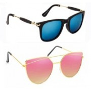 Elgator Wayfarer, Over-sized Sunglasses(Blue, Pink)