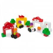 Joc de construit Caramizi mari City 2 Miniland, 55 piese, 3 masini, 4 personaje