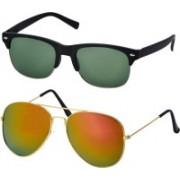 Freny Exim Aviator, Clubmaster Sunglasses(Green, Golden)