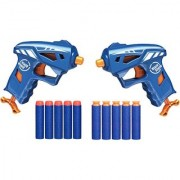 Emob 2 Mini Twin Blaze Storm Action Gun Toy with 10 Soft Bullets for Kids (Multicolor)