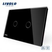 Intrerupator dublu wireless cu variator cu touch Livolo din sticla - standard italian, negru
