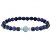 Les Poulettes Bijoux Bracelet Femme Perles Sodalite Une Perle de Larimar et Deux Perles Argent