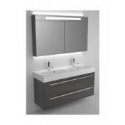 Ansamblu mobilier Riho cu lavoar dublu 120cm gama Slimline, Set 77 Acryl